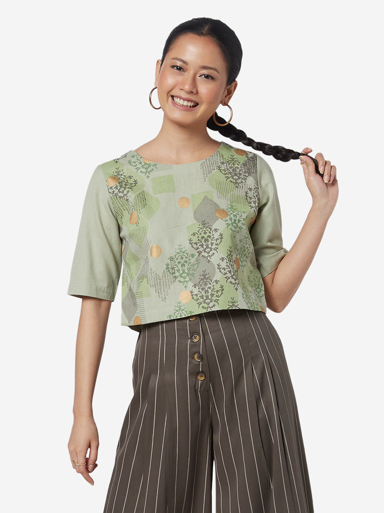 Bombay Paisley Green Printed Ethnic Crop-Top