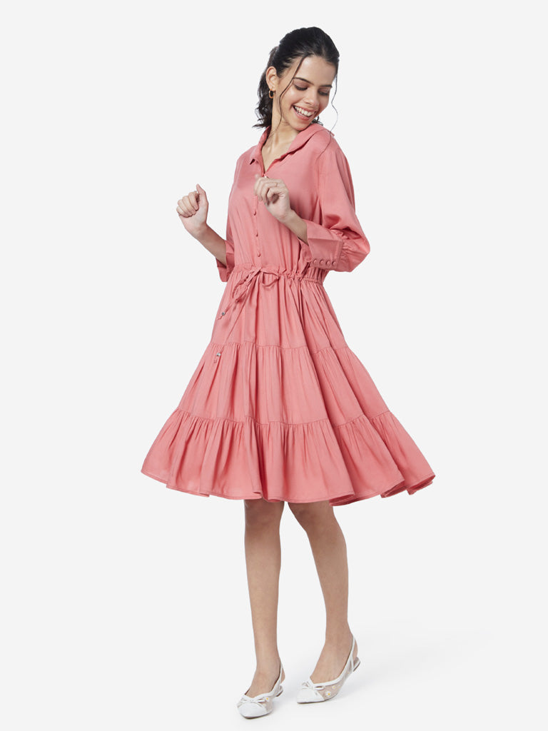 LOV Pink Tiered Haisly Shirtdress