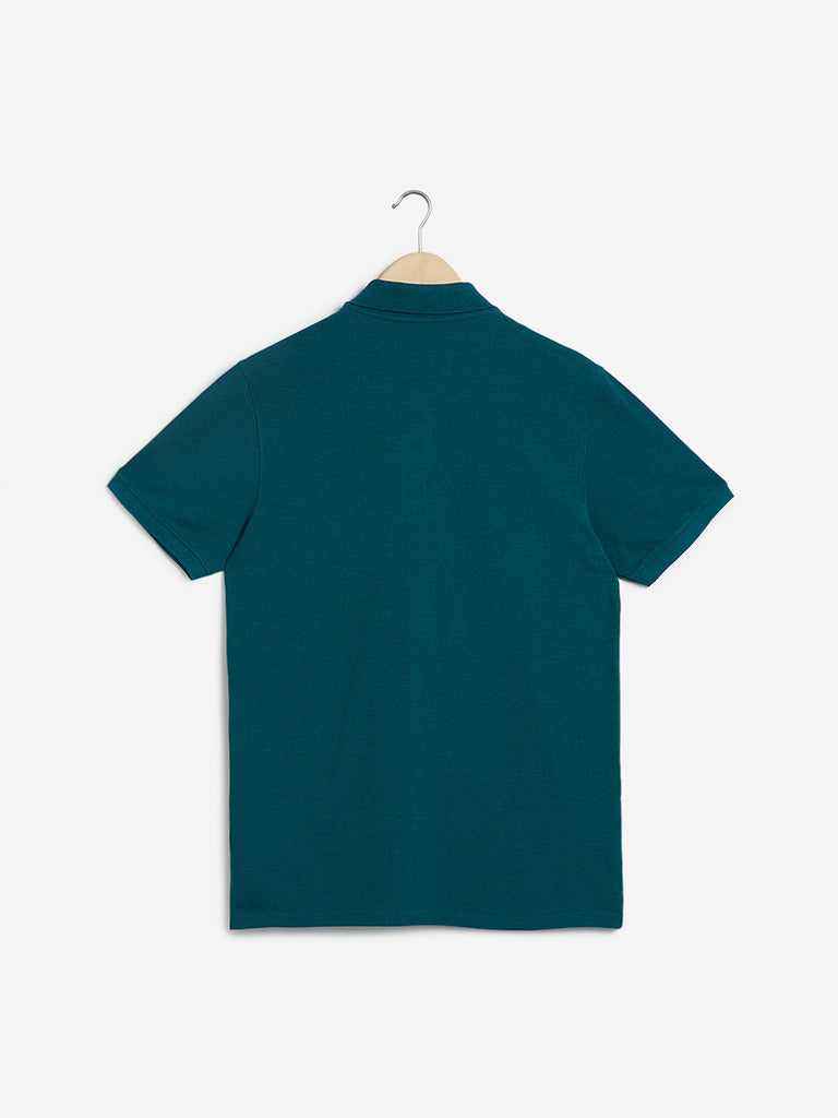 WES Casuals Teal Slim-Fit T-Shirt