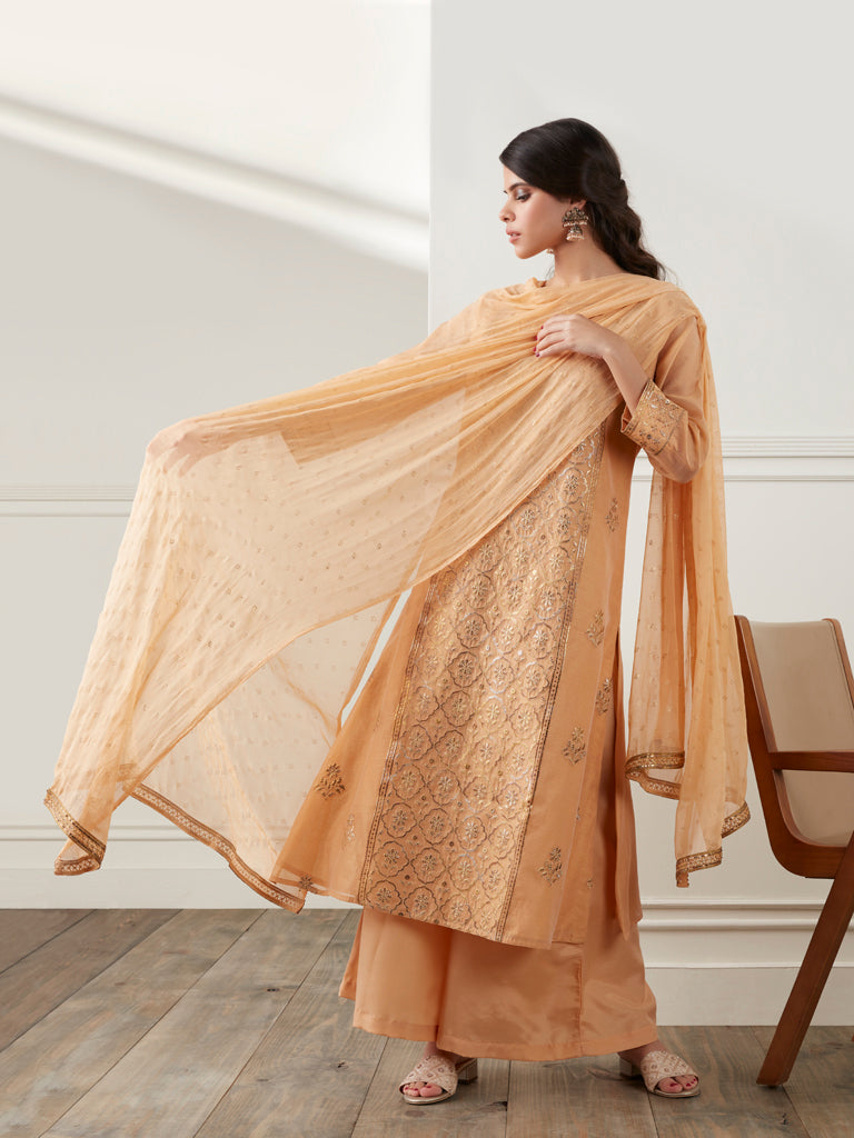 Vark Ochre Kurta, Dupatta And Palazzos Set