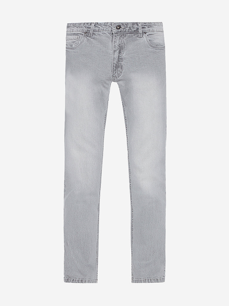 Westsport Light Grey Relaxed Fit Faded Jeans