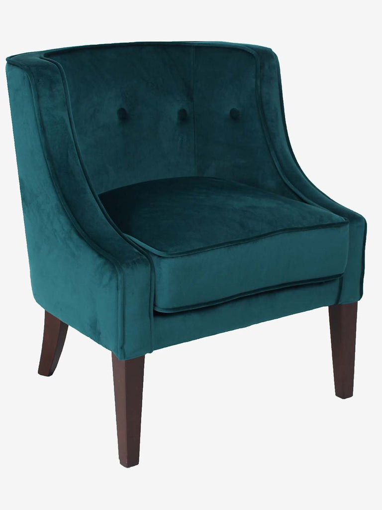 Westside Home Teal Oxford Bucket Armchair