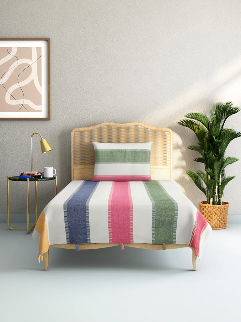 Westside Home Blue Melange Woven Single Bedcover with One Pillowcase