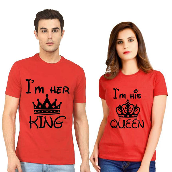 Red Cotton Blend Printed Round Neck Couple Tees