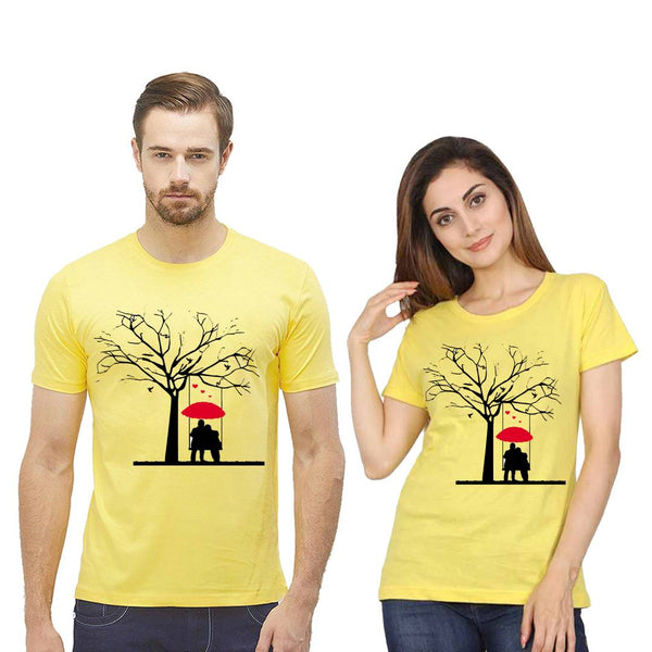 Yellow Cotton Blend Printed Round Neck Couple Tees
