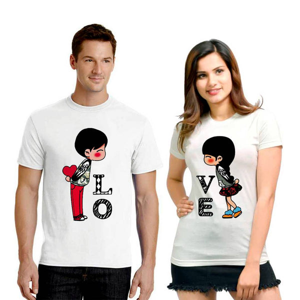 White Cotton Blend Printed Round Neck Couple Tees
