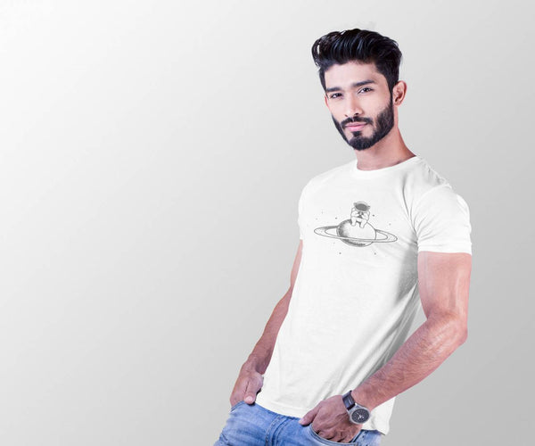Men White Cotton Printed Round Neck Tees