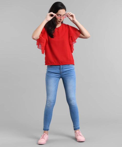 Elizy Women Red Ruffle Sleeve Neck Button Top