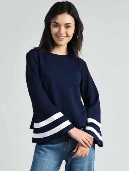 Elizy Women Navy Blue White High Frill Rayon Top