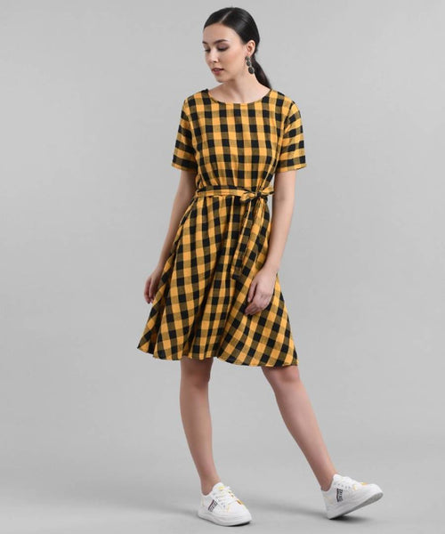 Elizy Women Yellow Check Printed Short Dress