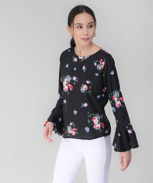 Elizy Women Black Base Pink Floral Printed Bell Sleeve Top