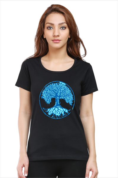 rTeee Graphic Printed T-Shirt for Women | Half Sleeve T-Shirt | Round Neck T Shirt | Wisdom Tree