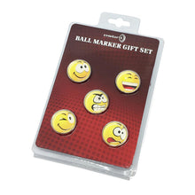 Load image into Gallery viewer, 5 Pack Smiley Golf Ball Marker Set