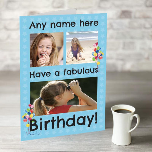 NOW ONLY £7.99! Happy Birthday Blue Photo Upload