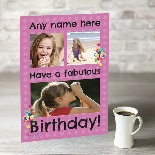 NOW ONLY £7.99!  Happy Birthday Pink Photo Upload
