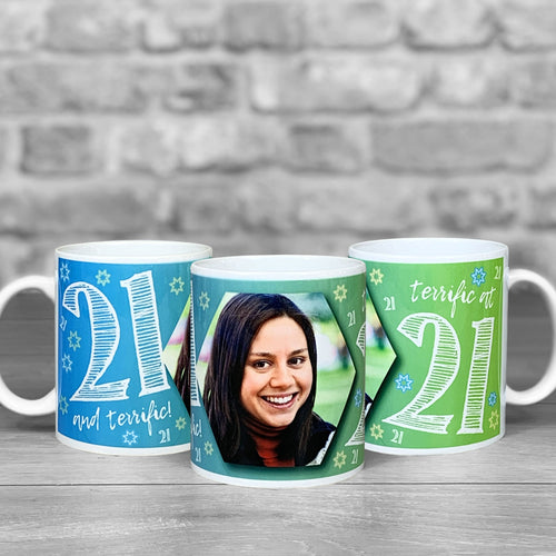 21st Birthday Personalised Hex Photo Mug