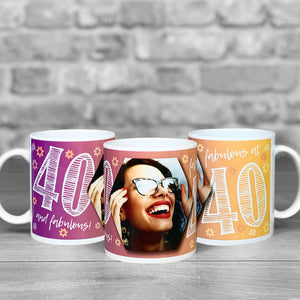40th Birthday Personalised Hex Photo Mug