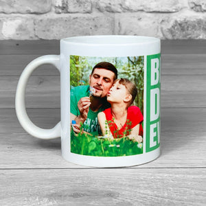 Best Dad Ever Green Personalised Photo Mug
