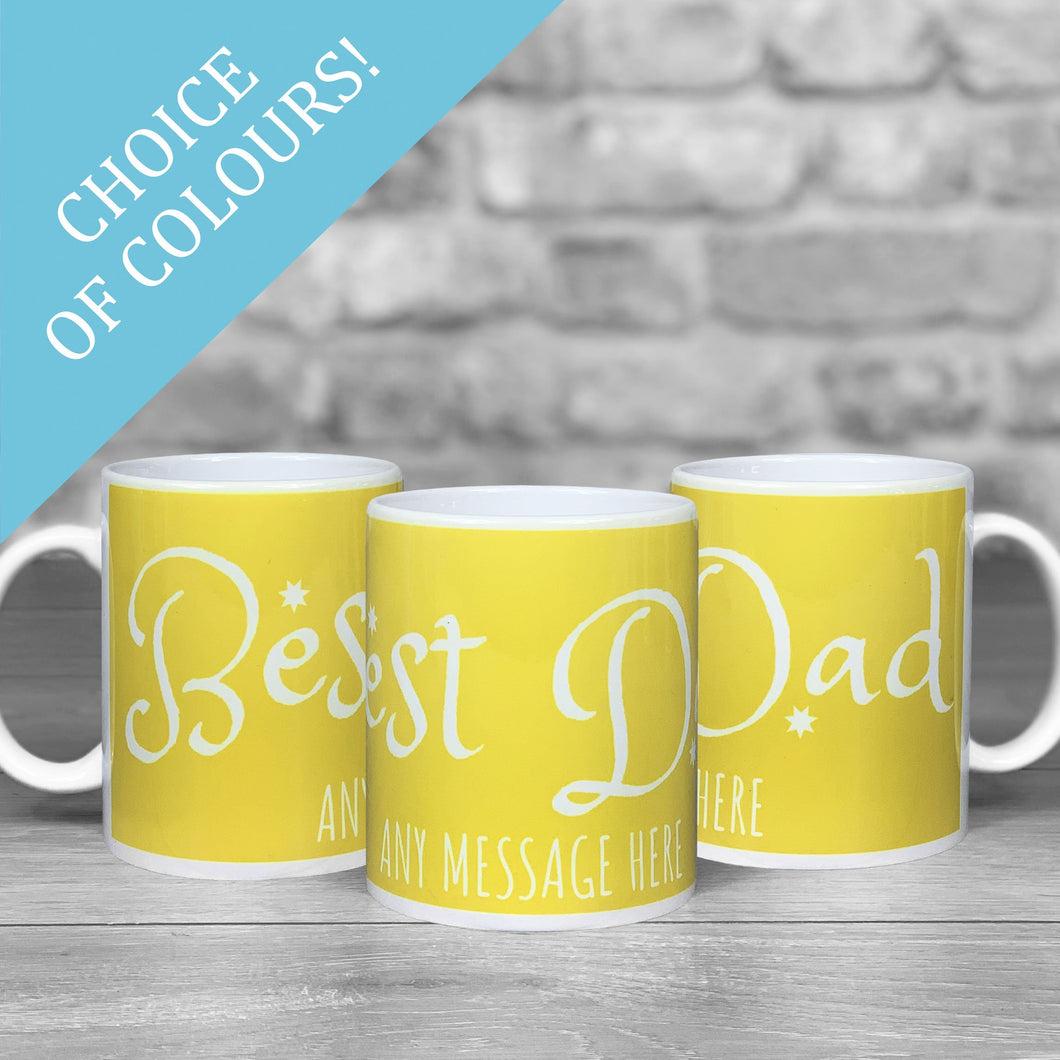 Best Dad Text Personalised Photo Mug - Choice of colours!