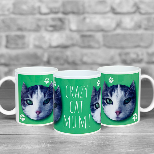 Crazy Cat Mum Personalised Photo Mug
