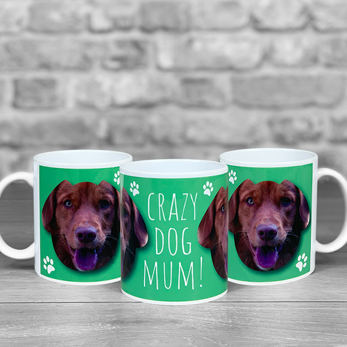 Crazy Dog Mum Personalised Photo Mug