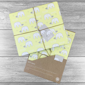 Elephants Any Occasion Giftwrap with tags and twine. Choice of colours.