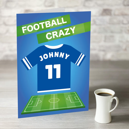 NOW ONLY £7.99! Football Crazy Birthday Card with Personalised Blue Shirt