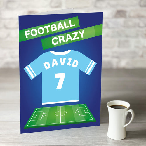 Football Crazy Birthday Card with Personalised Sky Blue Shirt