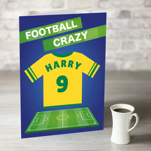 Football Crazy Birthday Card with Personalised Yellow Shirt