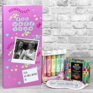 Get Well Pink Personalised Card - Letterbox Gift Set