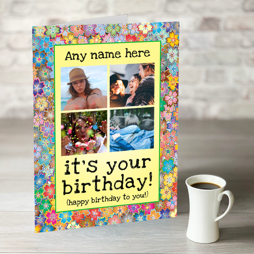 NOW ONLY £7.99!  Floral Happy Birthday - 4 Photo Upload