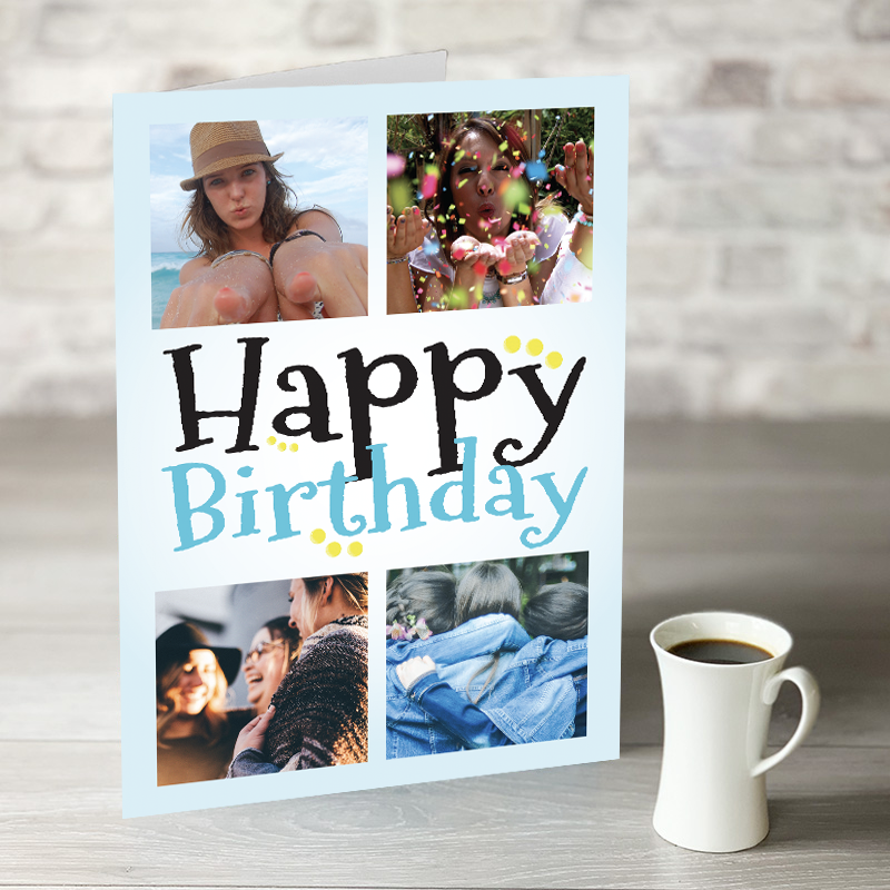 NOW ONLY £7.99!  Happy Birthday - 4 Photo Upload