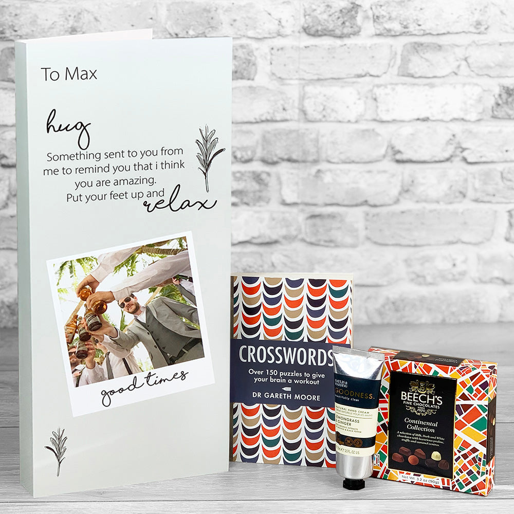 Hug and Relax Personalised Pamper Card - Letterbox Gift Set