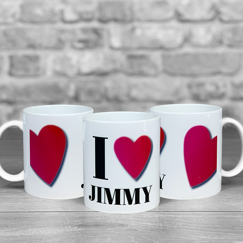 I heart personalised name mug