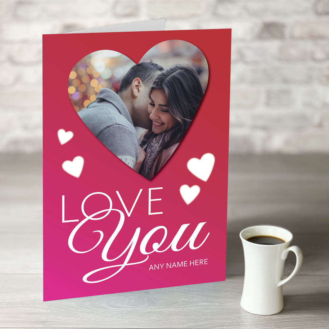 NOW ONLY £7.99!  Love You - Heart Shape Photo Upload