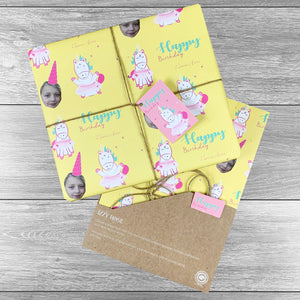 4 sheets Unicorn Birthday Photo Upload Giftwrap with tags and twine. Choice of colours.