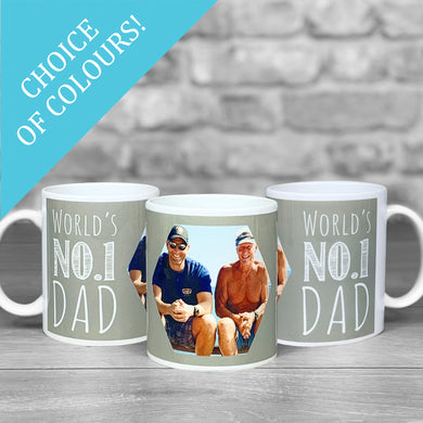 World's No. 1 Dad Personalised Photo Mug - Choice of colours!