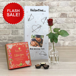 Happy Valentines - Hearts and Arrows Personalised Card - Letterbox Gift Set