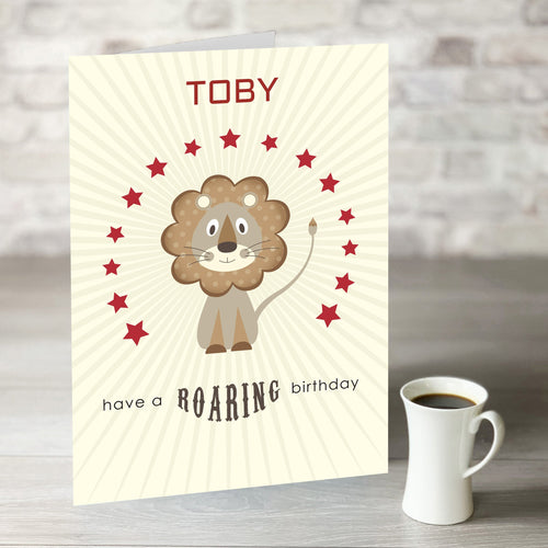 NOW ONLY £7.99! Have a Roaring Birthday Card with Editable Name