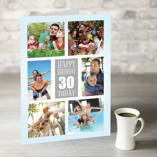 NOW ONLY £7.99! Happy Birthday 6 Photo Upload Card with Editable Age