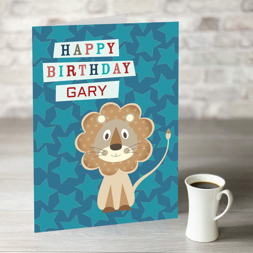 Little Lion Happy Birthday Card With Editable Name