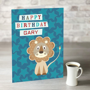 NOW ONLY £7.99! Little Lion Happy Birthday Card With Editable Name