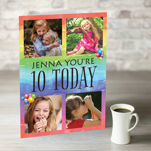 TEST NOW ONLY £7.99!  Rainbow Birthday Card - Editable year and photo upload