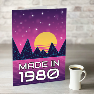 NOW ONLY £7.99!  Made In The 80's Retro Birthday Card With Editable Year