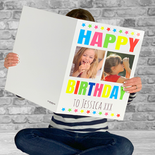 Load image into Gallery viewer, Football Crazy Birthday Card with Personalised Claret and Blue Shirt