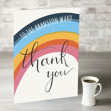 NOW ONLY £7.99! Rainbow Thank You Card with Personalised Text