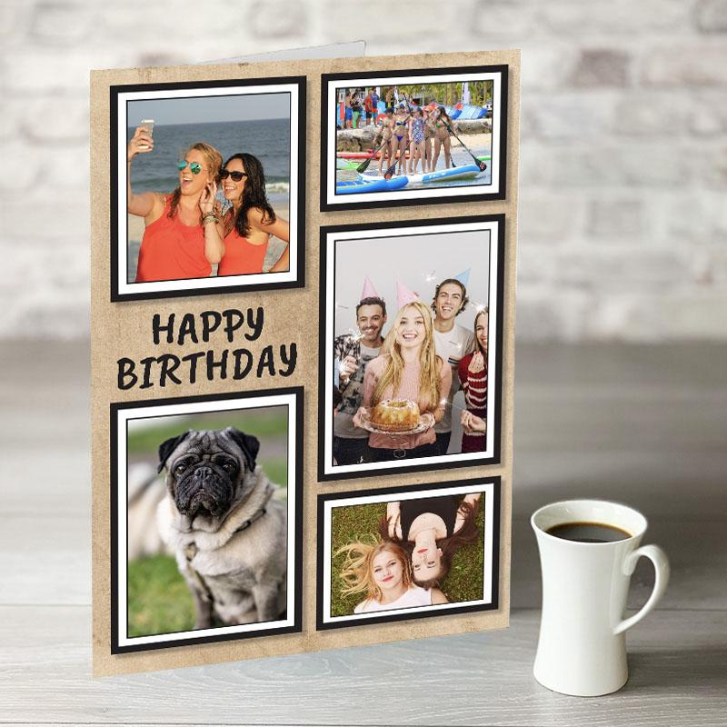 NOW ONLY £7.99!  Happy Birthday Photo Frames 5 Photo Upload with Paper Background