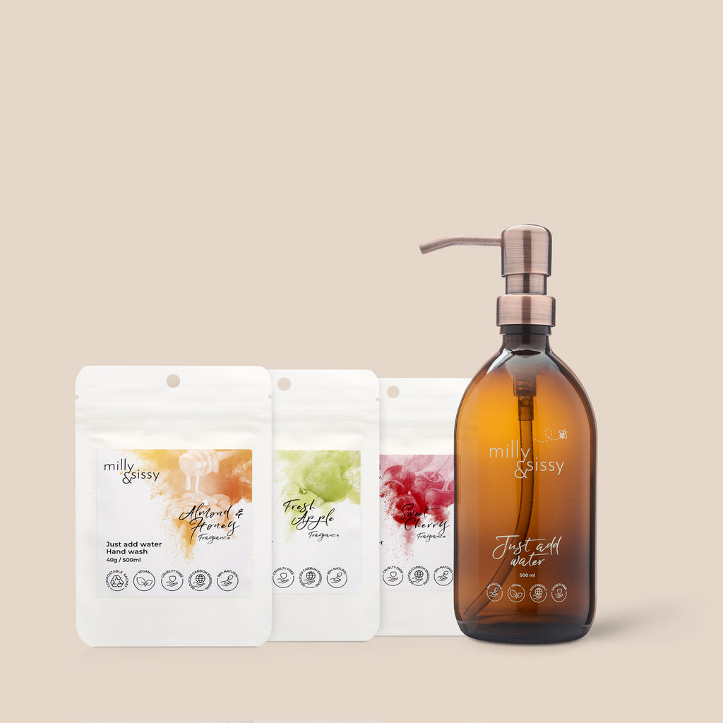 Hand Wash TRIO set + British Made Glass Bottle with bronzed pump