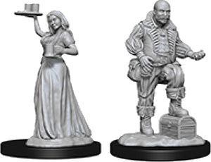 Pathfinder Deep Cuts Unpainted Miniatures: W3 Merchants (Serving Girl/Merchant)