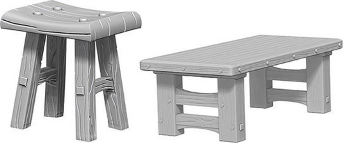 WizKids Deep Cuts Unpainted Miniatures: W4 Wooden Table & Stools